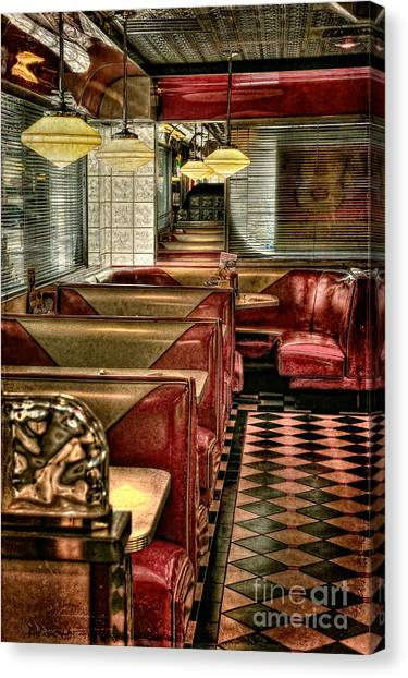 Diners Canvas Print - Back To The Fifties by Lois Bryan