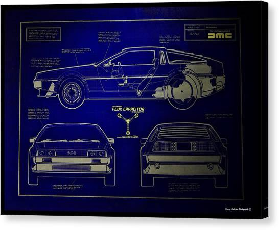 Back To The Future Canvas Print - Back To The Future Delorean Blueprint 2 by Tommy Anderson