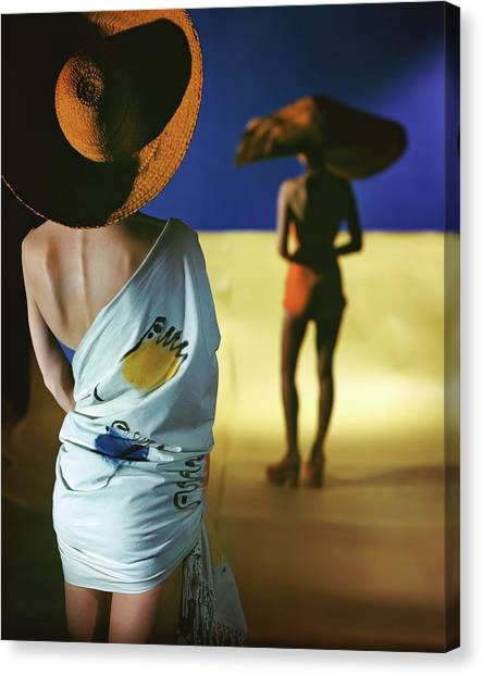 Back View Of Two Models Wearing Sarongs Canvas Print