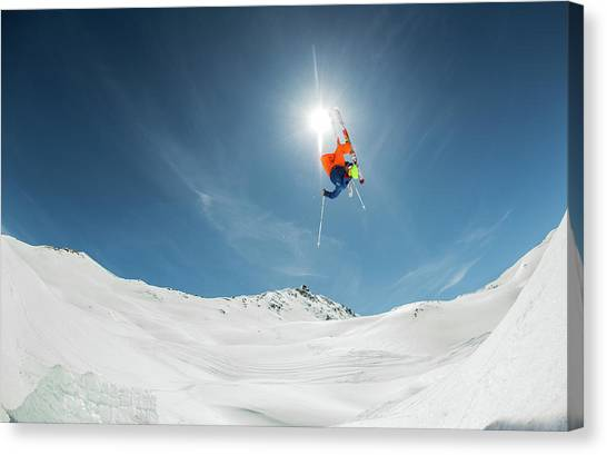 Skiing Canvas Print - Backcountry Kicker Locals Only by Eric Verbiest