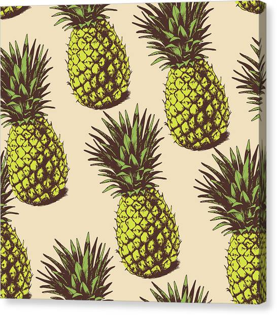 Printmaking Canvas Print - Background With  Pineapples by Ola-ola