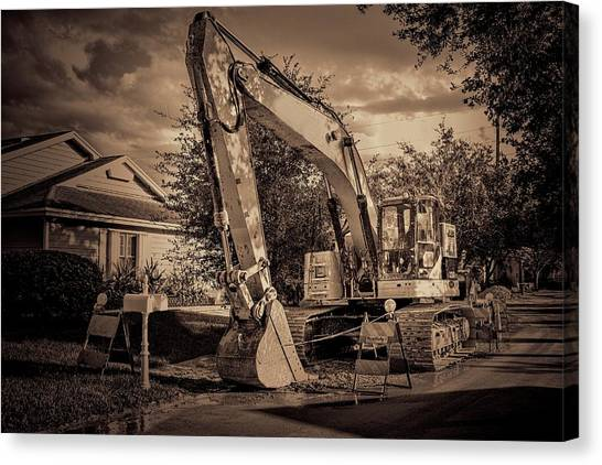 Backhoes Canvas Print - Backhoe-1 by Rudy Umans