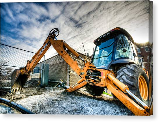 Backhoes Canvas Print - Backhoe At Sunset by Anthony Doudt