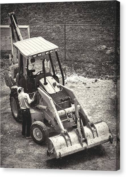 Backhoes Canvas Print - Backhoe Bw by Rudy Umans