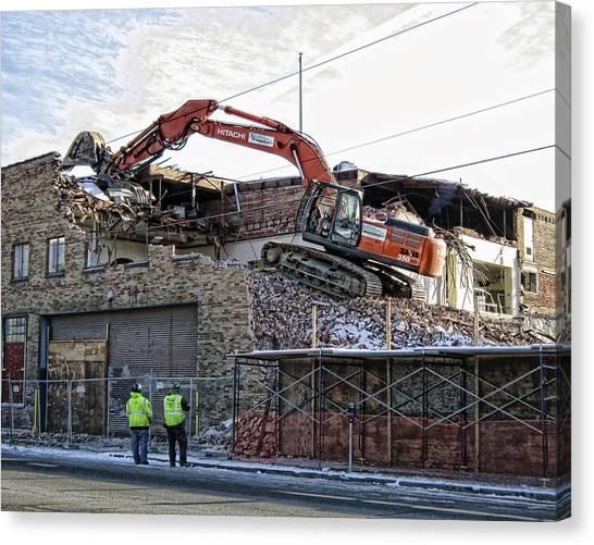 Backhoes Canvas Print - Backhoe Demolition by Daniel Hagerman