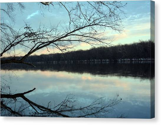Backlit Skies On The Potomac River Canvas Print by Bill Helman