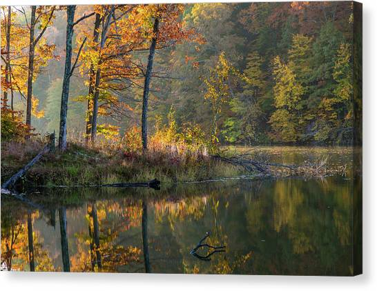 Indiana Autumn Canvas Print - Backlit Trees On Lake Ogle In Autumn by Chuck Haney