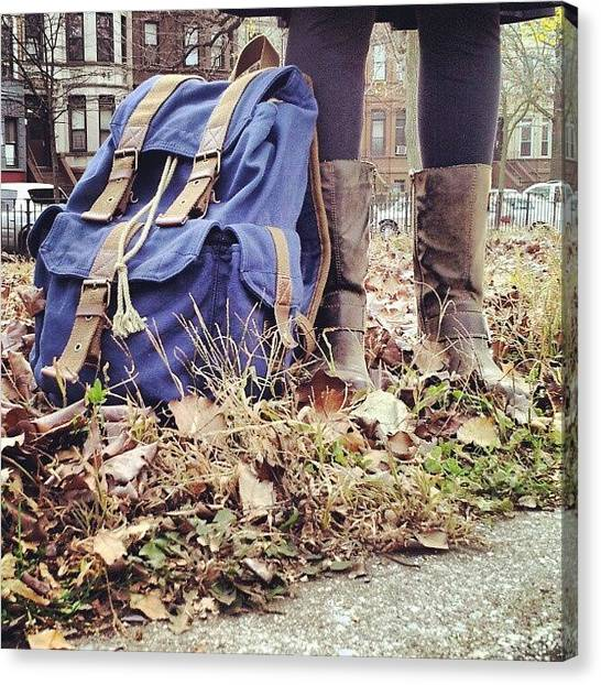 Backpacks Canvas Print - #backpack #boots #leggings #outside by Esty  Van h