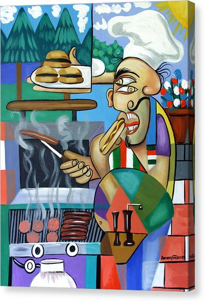Hot Dogs Canvas Print - Backyard Chef by Anthony Falbo