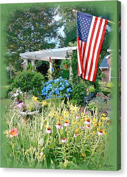 American Flag Canvas Print - Backyard Paradise by Greg Joens