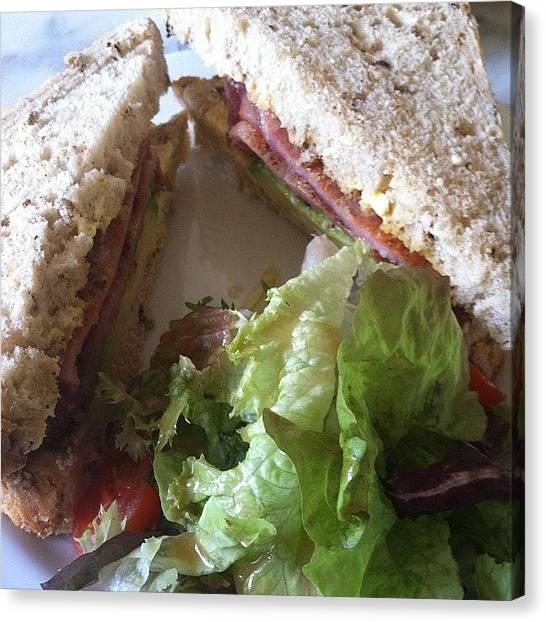 Bacon Canvas Print - Bacon And Avacado Sandwich For Dinner by Rachel Ayres