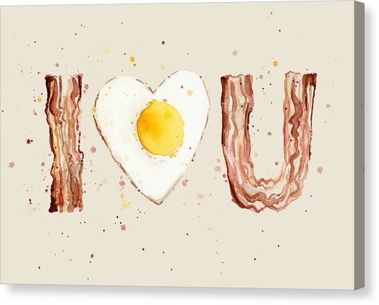 Eggs And Bacon Canvas Print - Bacon And Egg I Heart You Watercolor by Olga Shvartsur