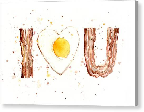 Eggs And Bacon Canvas Print - Bacon And Egg I Love You by Olga Shvartsur