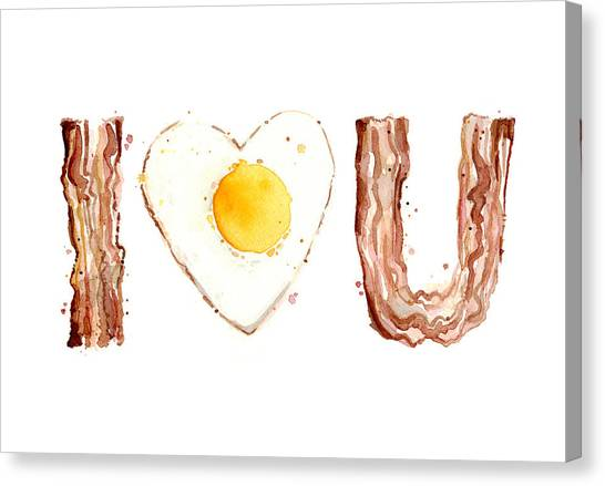 Bacon Canvas Print - Bacon And Egg Love by Olga Shvartsur