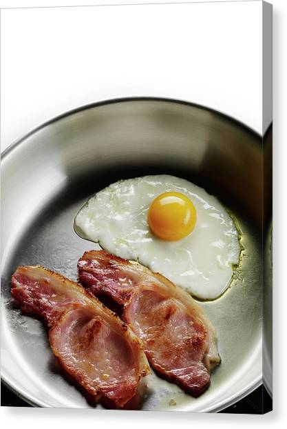 Bacon Canvas Print - Bacon And Eggs Cooking In A Frying Pan by Patrick Llewelyn-davies/science Photo Library