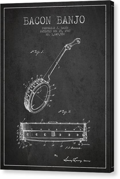 Banjos Canvas Print - Bacon Banjo Patent Drawing From 1929 - Dark by Aged Pixel