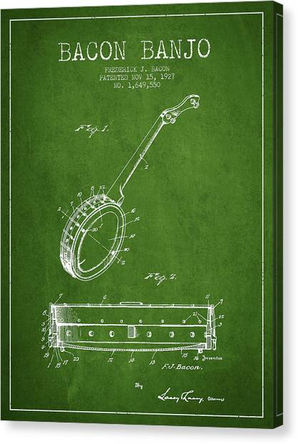 Banjos Canvas Print - Bacon Banjo Patent Drawing From 1929 - Green by Aged Pixel