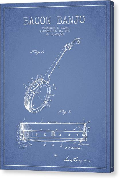 Banjos Canvas Print - Bacon Banjo Patent Drawing From 1929 - Light Blue by Aged Pixel