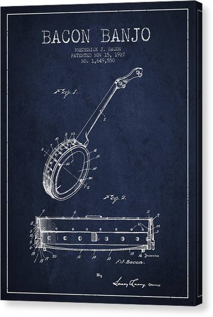 Banjos Canvas Print - Bacon Banjo Patent Drawing From 1929 - Navy Blue by Aged Pixel