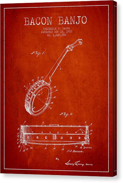 Banjos Canvas Print - Bacon Banjo Patent Drawing From 1929 - Red by Aged Pixel
