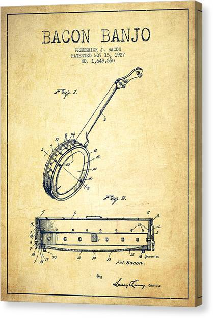 Banjos Canvas Print - Bacon Banjo Patent Drawing From 1929 - Vintage by Aged Pixel