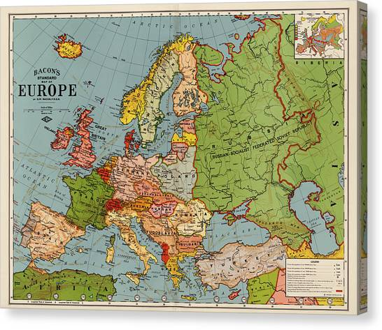 Bacon Canvas Print - Bacon's Standard Map Of Europe - Circa 1920 by Blue Monocle