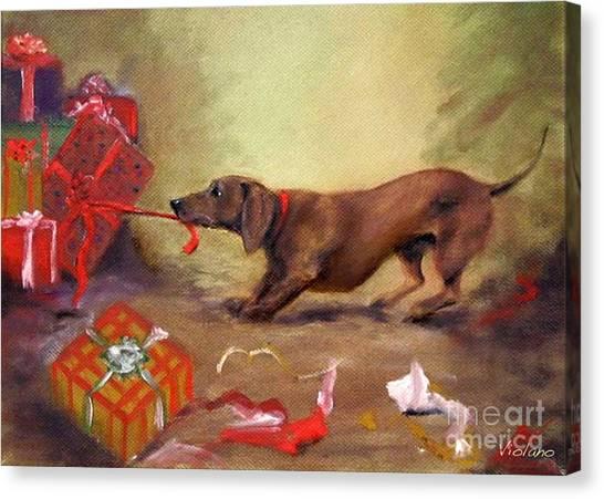 Bad Dog Christmas Canvas Print by Stella Violano