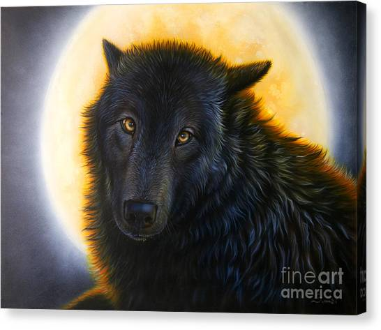Full Moon Canvas Print - Bad Girls Have Halos Too by Sandi Baker