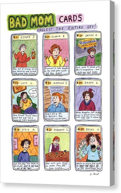 Juice Canvas Print - Bad Mom Cards Collect The Whole Set by Roz Chast