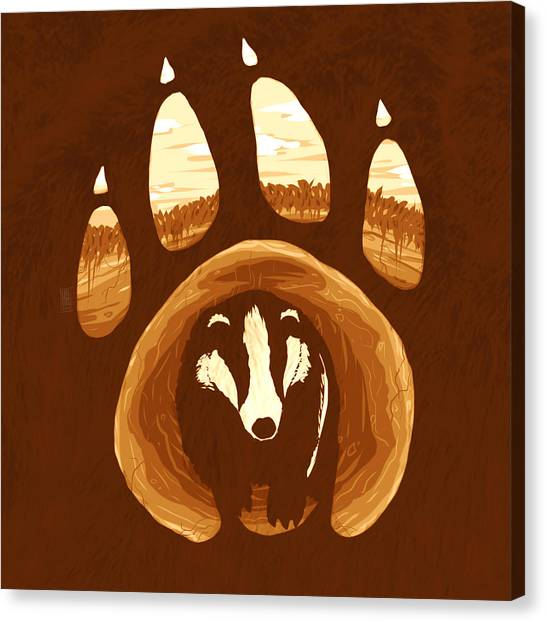 Ground Canvas Print - Badger Paw by Daniel Hapi