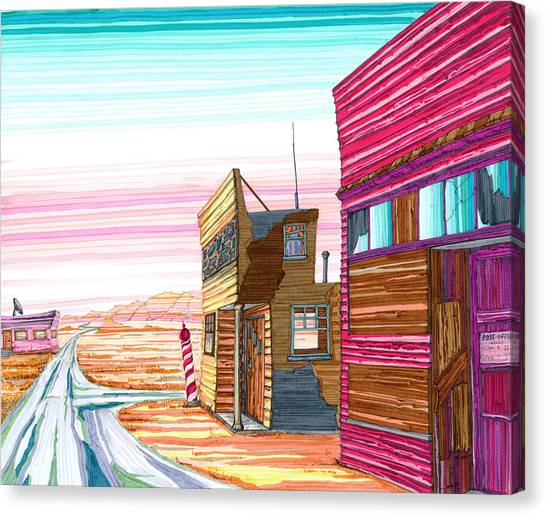 Canvas Print featuring the drawing Badlands Barbershop by Scott Kirby