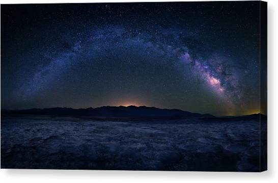 Barren Canvas Print - Badwater Under The Night Sky by Michael Zheng