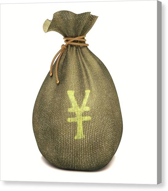 Yen Canvas Print - Bag With Japanese Yen Sign by Ktsdesign