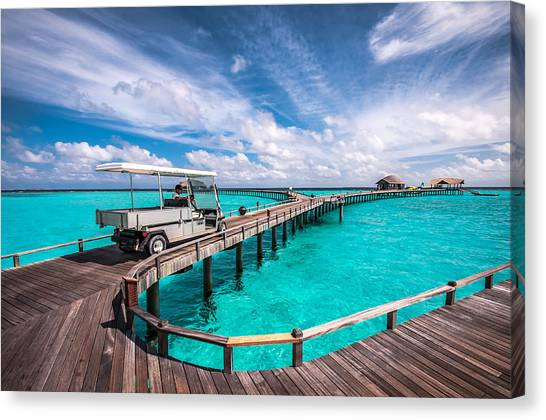 Baggy On The Jetty Over The Blue Lagoon Canvas Print