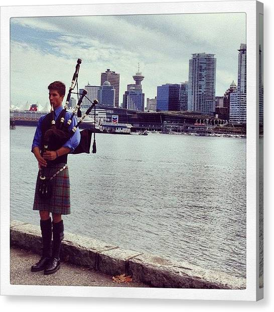 Vancouver Skyline Canvas Print - #bagpipe #bagpiper #stanleypark by NRyan Ferrer