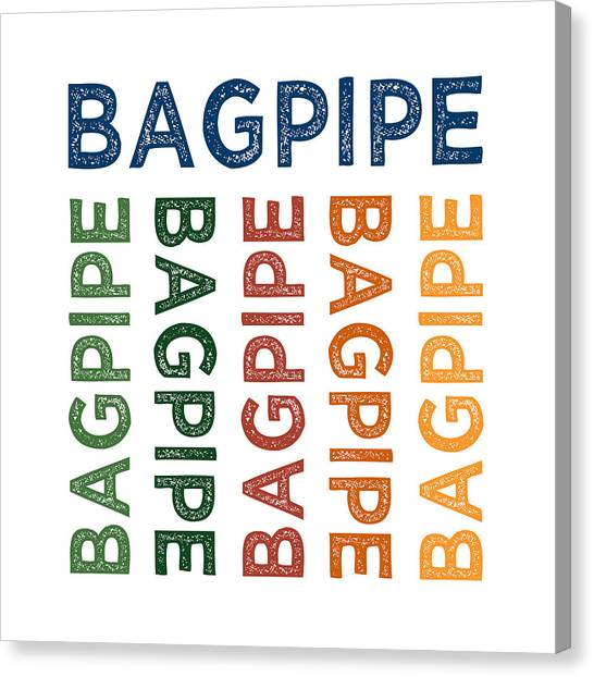Bagpipes Canvas Print - Bagpipe Cute Colorful by Flo Karp