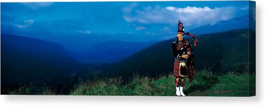 Bagpipes Canvas Print - Bagpiper Scottish Highlands Scotland by Panoramic Images