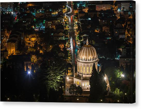 Baha'i Temple At Night Canvas Print