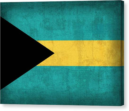 Bahamas Canvas Print - Bahamas Flag Vintage Distressed Finish by Design Turnpike