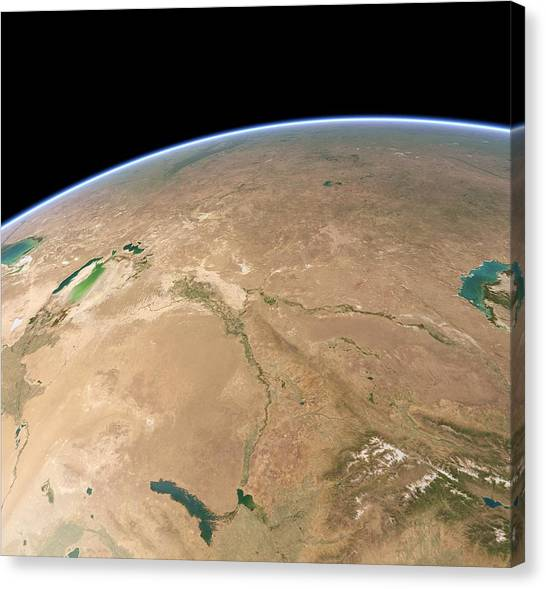 Ural Mountains Canvas Print - Baikonur, Kazakhstan, Satellite Artwork by Science Photo Library