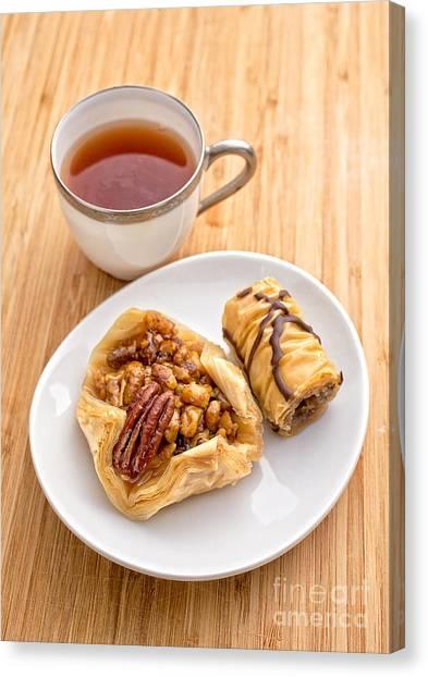 Sweet Tea Canvas Print - Baklava Tea Break by Edward Fielding