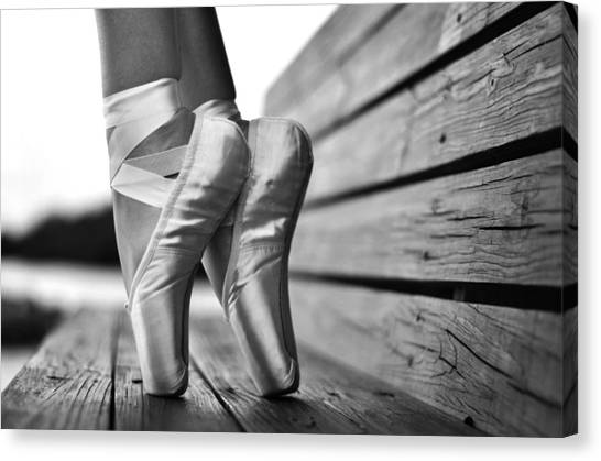 Ballet Shoes Canvas Print - balance BW by Laura Fasulo