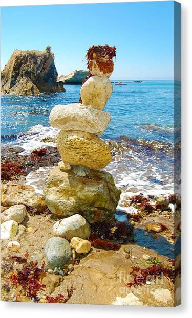 Balanced Beach Rock Stack Canvas Print