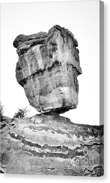 Balanced Rock In Black And White Canvas Print