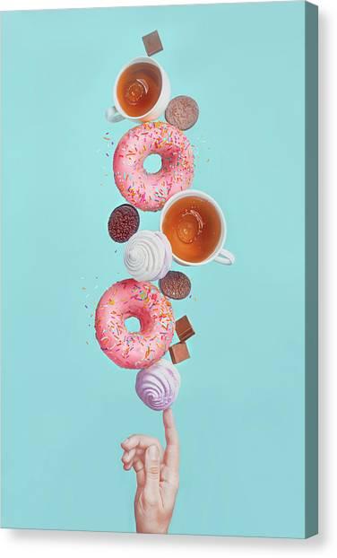 Balancing Donuts Canvas Print by Dina Belenko Photography