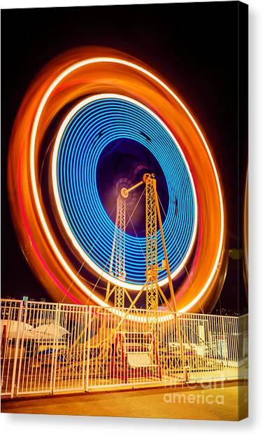 Wheels Canvas Print - Balboa Fun Zone Ferris Wheel At Night Picture by Paul Velgos