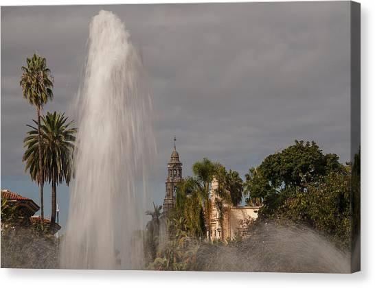 Balboa Park Fountain And California Tower Canvas Print