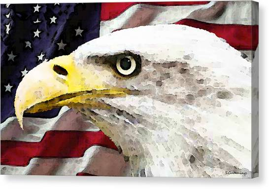 Philadelphia Eagles Canvas Print - Bald Eagle Art - Old Glory - American Flag by Sharon Cummings