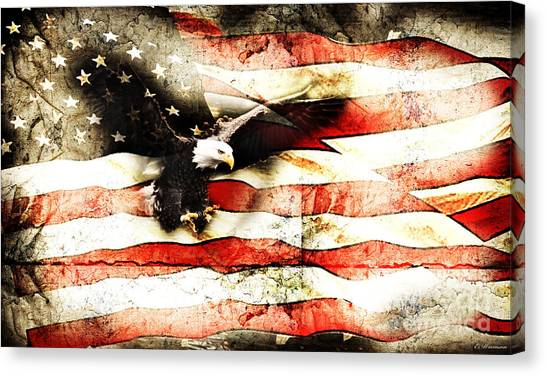 Bald Eagle Bursting Thru Flag Canvas Print