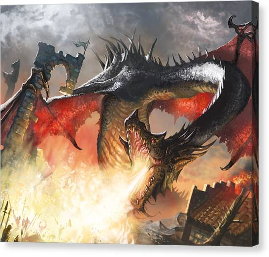 Fantasy Canvas Print - Balerion The Black by Ryan Barger